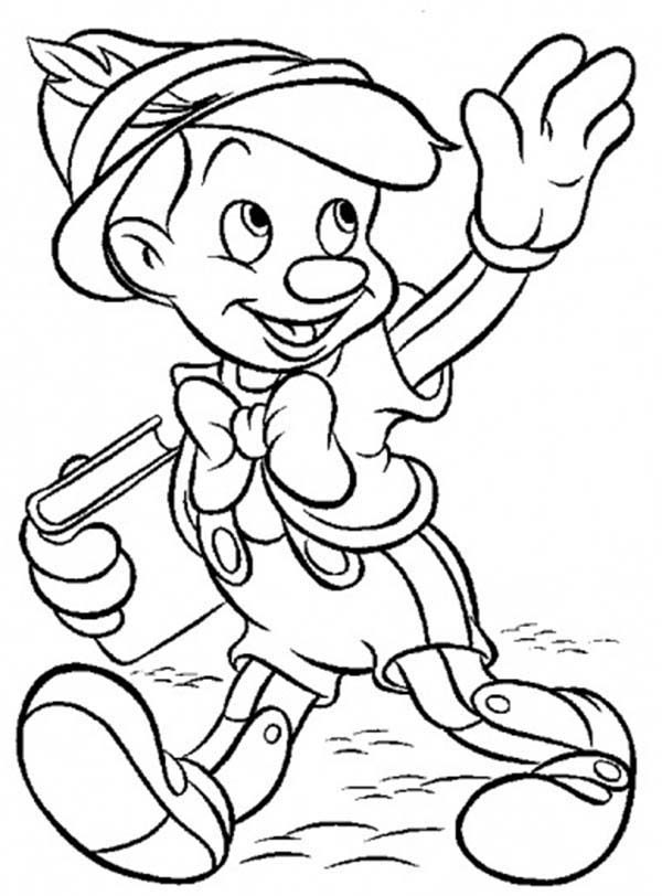 Pinocchio, : Pinocchio is Going to School Coloring Pages