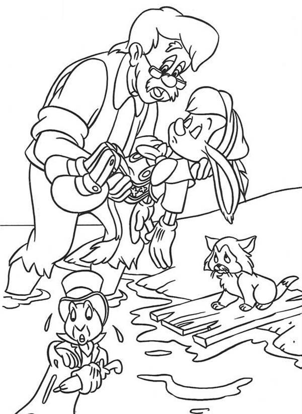 Pinocchio, : Pinocchio is Lost His Consciousness Coloring Pages