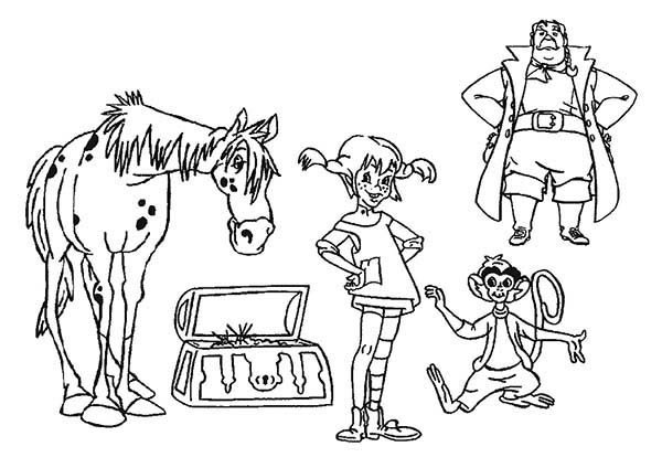 Pippi Longstocking, : Pippi Longstocking All Characters Coloring Pages