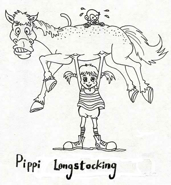 Pippi Longstocking, : Pippi Longstocking Lifting Her Horse and Monkey Coloring Pages