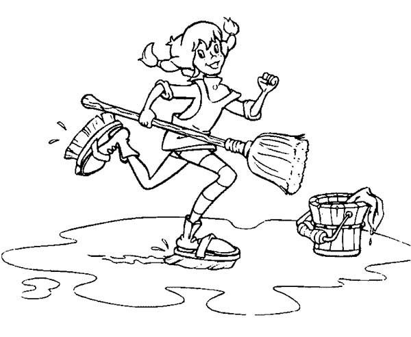 Pippi Longstocking, : Pippi Longstocking Moping the Floor Coloring Pages