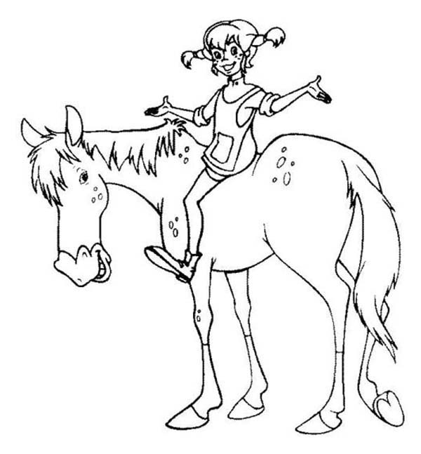 Pippi Longstocking, : Pippi Longstocking Riding Horse Coloring Pages