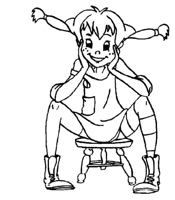 Pippi Longstocking, : Pippi Longstocking Sitting on Little Chair Coloring Pages