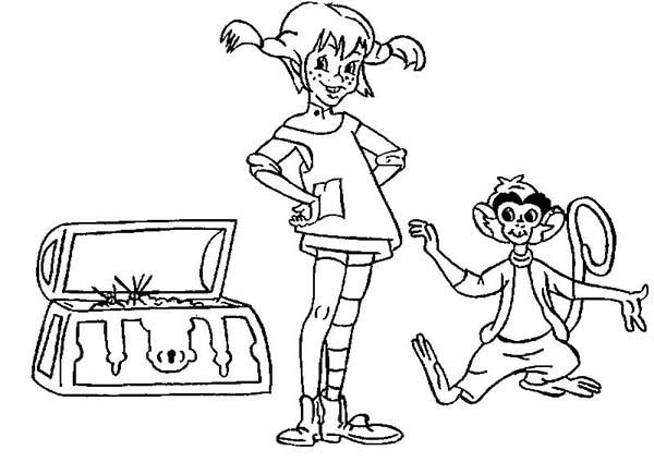 Pippi Longstocking, : Pippi Longstocking and Treasure Chest Coloring Pages