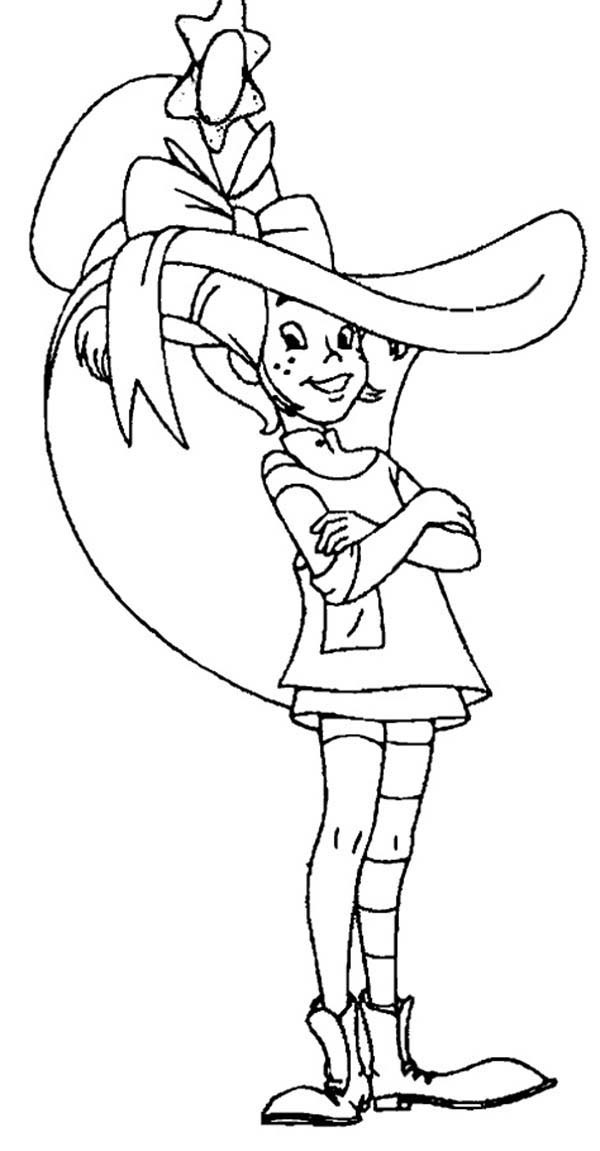 Pippi Longstocking, : Pippi Longstocking with Her New Hat Coloring Pages