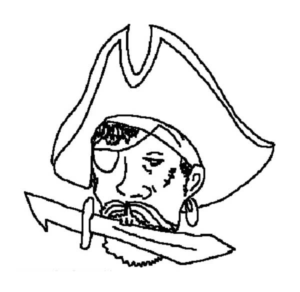 Pirates, : Pirate Bite a Knife Coloring Pages