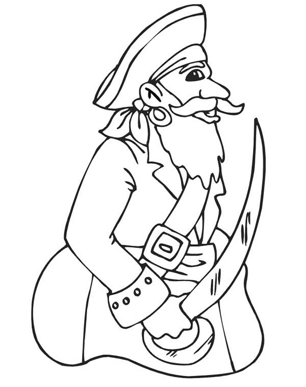 Pirates, : Pirate Captain Coloring Pages