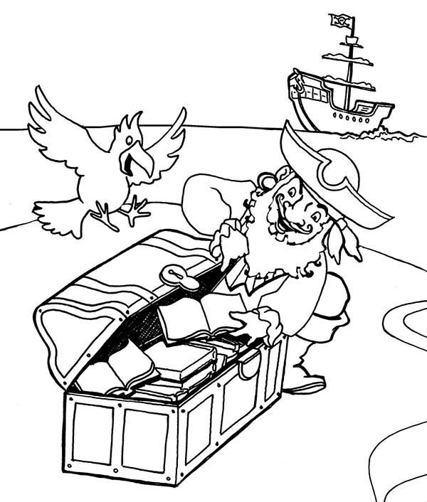Pirates, : Pirate Captain Hide His Treasure Coloring Pages