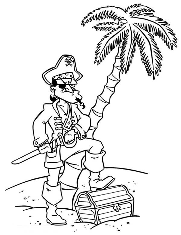 Pirates, : Pirate Captain Treasure Chest Coloring Pages