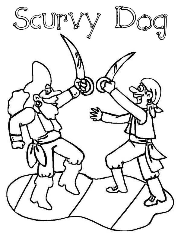Pirates, : Pirate Fight Scurvy Dog Coloring Pages