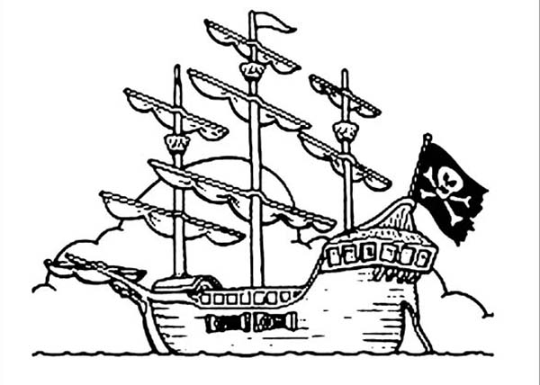 Pirates, : Pirate Galleon Coloring Pages