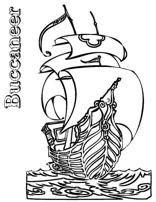 Pirates, : Pirate Ship Boats Buccaneer Coloring Pages