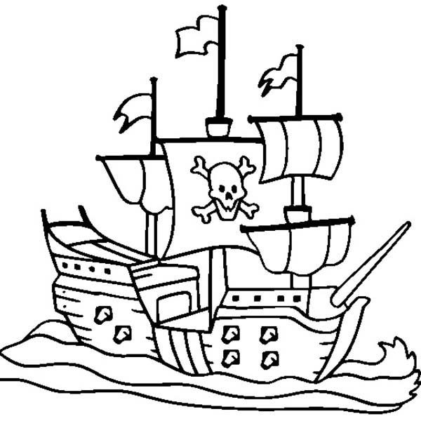 Pirates, : Pirate Ship Coloring Pages