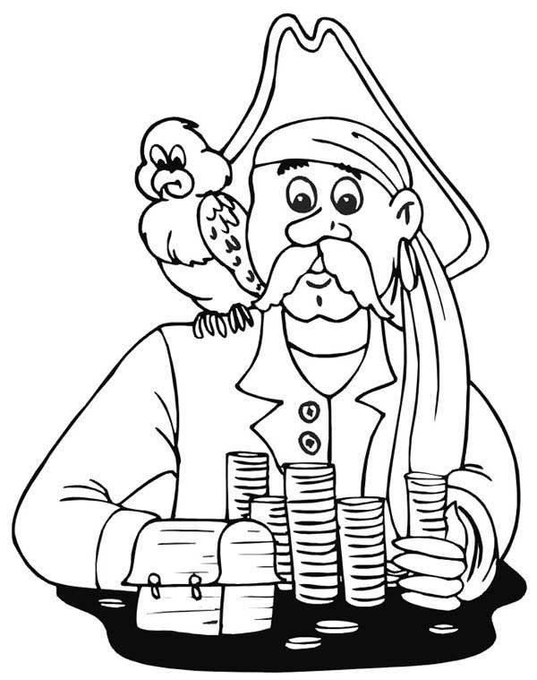 Pirates, : Pirate Treasure and Pirate Bird Coloring Pages