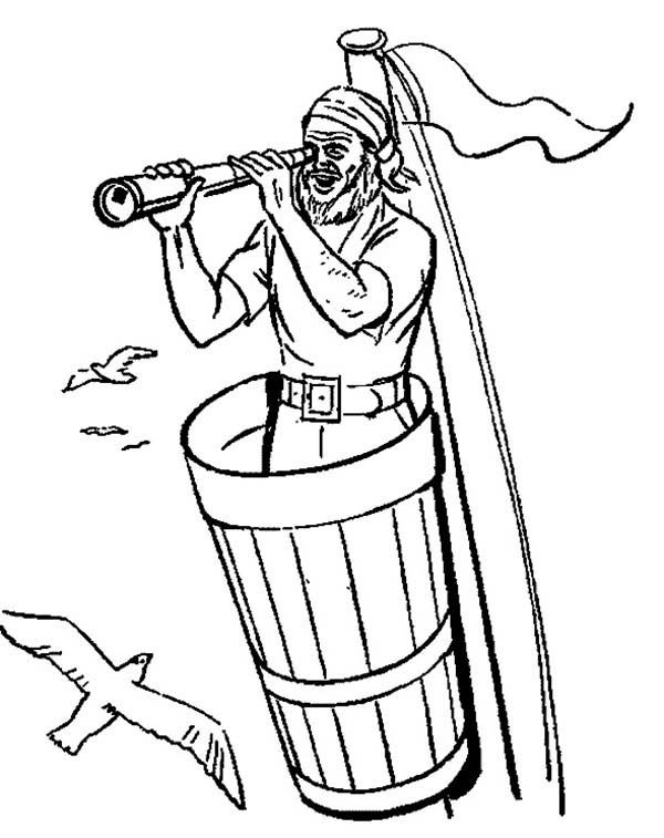 Pirates, : Pirate Using Telescope Coloring Pages