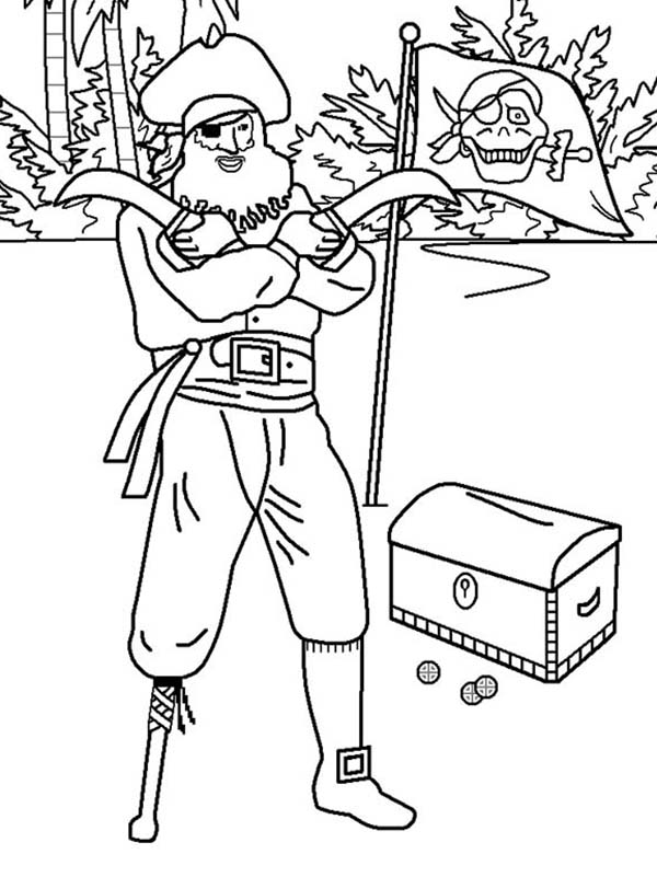 Pirates, : Pirate and his Treasure Coloring Pages
