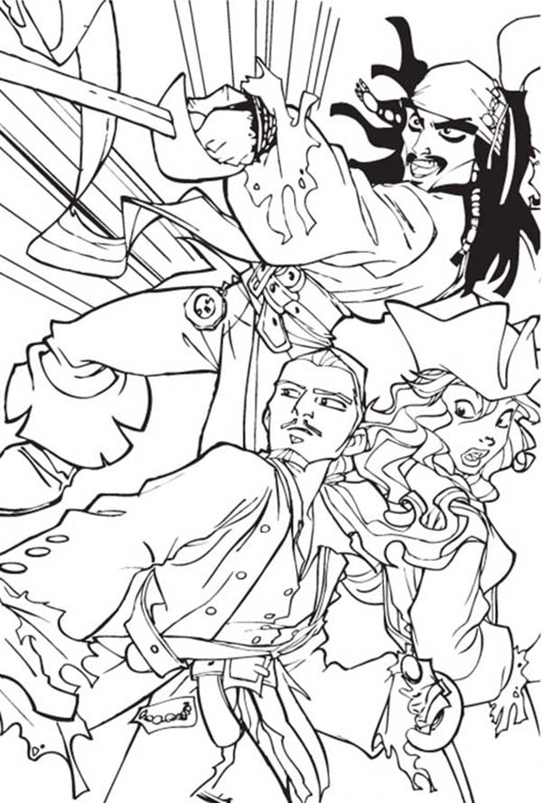Pirates, : Pirate of Carribeans Coloring Pages