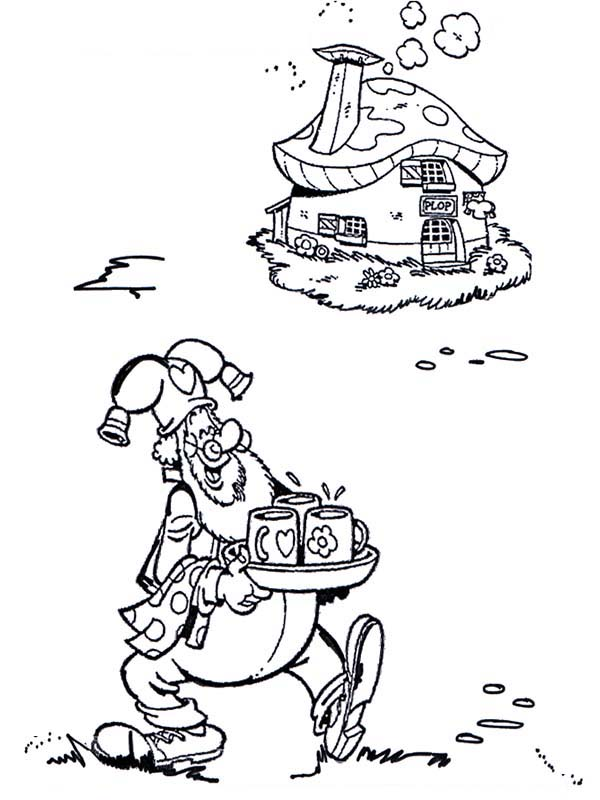 Plop the Gnome, : Plop the Gnome Bring Drink for His Guest Coloring Pages