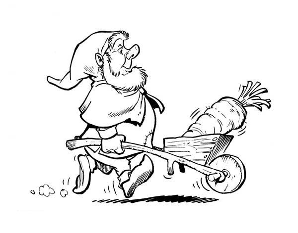 Plop the Gnome, : Plop the Gnome Bring Giant Carrot Coloring Pages