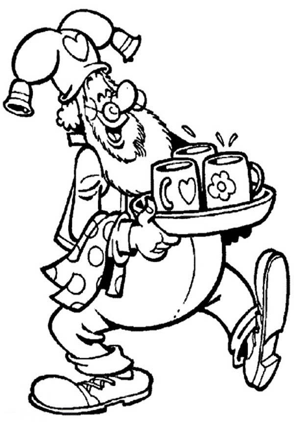 Plop the Gnome, : Plop the Gnome Bring Three Cup of Tea Coloring Pages