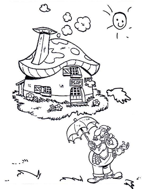 Plop the Gnome, : Plop the Gnome Standing in Front of His House Coloring Pages