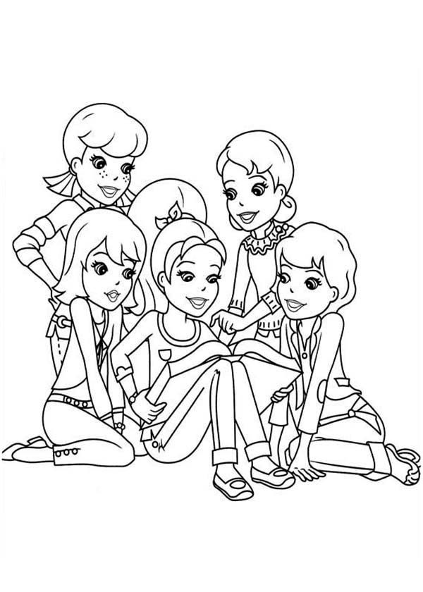 Polly Pocket, : Polly Being Comforted by Her Friends in Polly Pocket Coloring Pages
