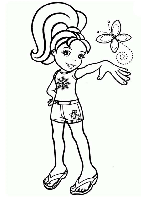Polly Pocket, : Polly Pocket and Little Beautiful Butterfly inn Coloring Pages