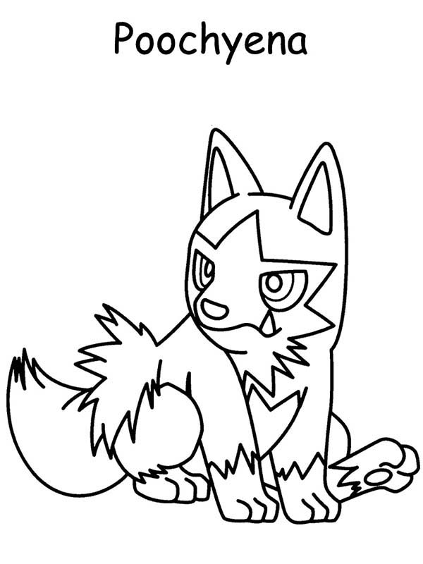 Pokemon, : Poochyena Pokemon Sitting Coloring Pages