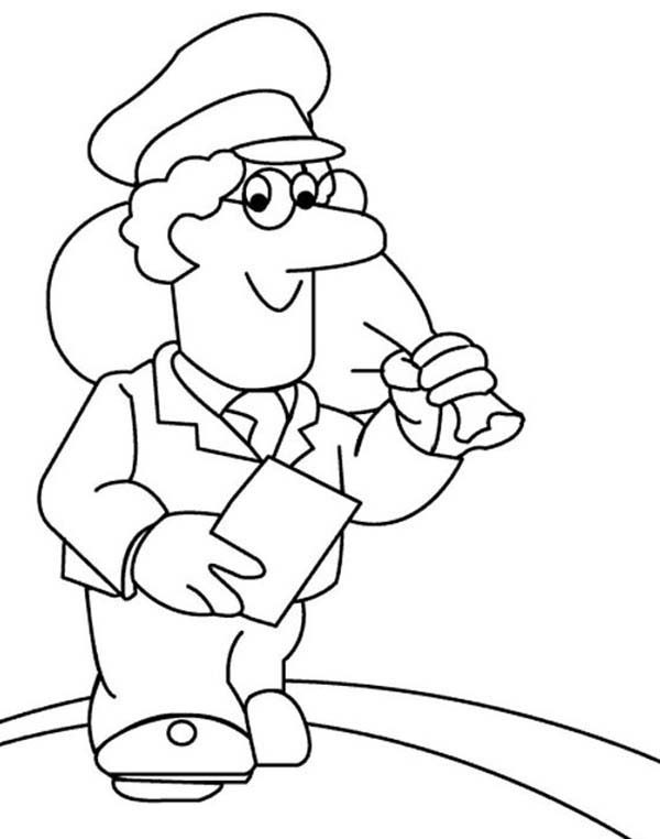 Postman Pat, : Postman Pat Carrie a Bag of Mail Coloring Pages