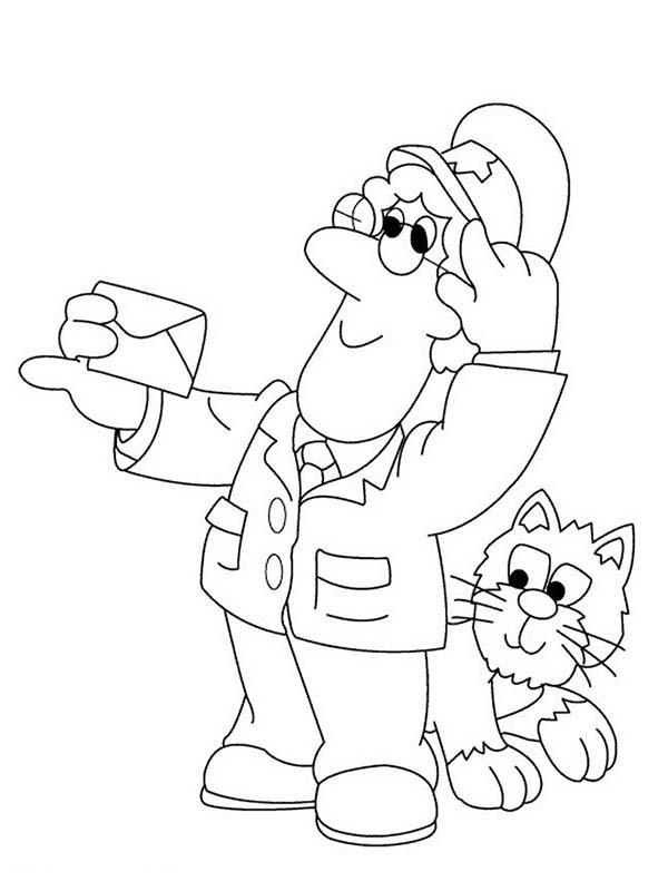 Postman Pat, : Postman Pat Checking Mail Address Coloring Pages
