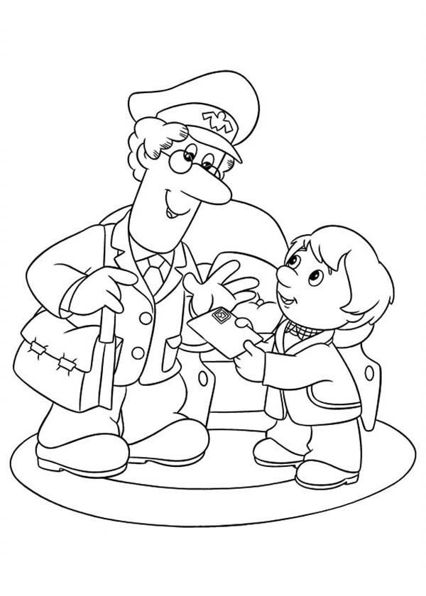 Postman Pat, : Postman Pat Deliver a Mail to a Little Kid Coloring Pages