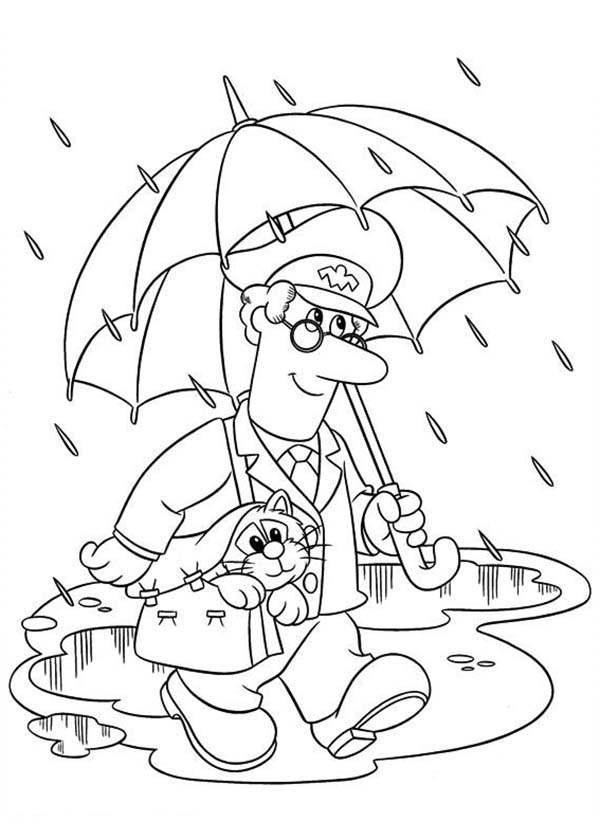 Postman Pat, : Postman Pat Delivering Mail Under the Rain Coloring Pages