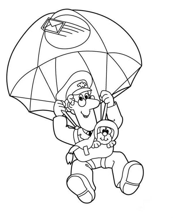Postman Pat, : Postman Pat Doing Skydiving with Jess Coloring Pages