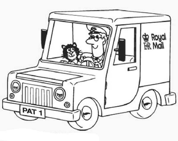 Postman Pat, : Postman Pat Ride His Royal Mail Car Coloring Pages