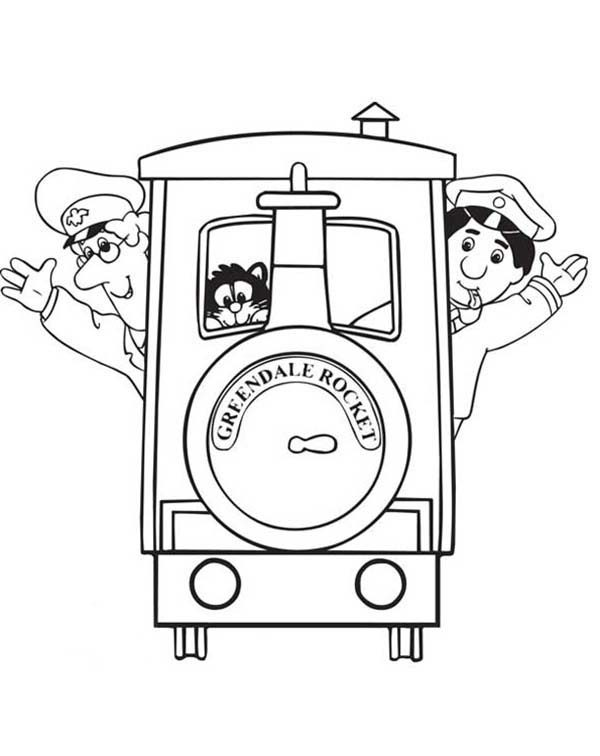 Postman Pat, : Postman Pat Take Ride of Grendale Rocket the Train Coloring Pages