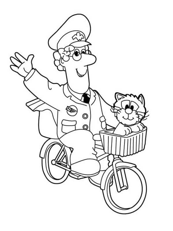 Postman Pat, : Postman Pat Waving His Hand while Riding Bike Coloring Pages