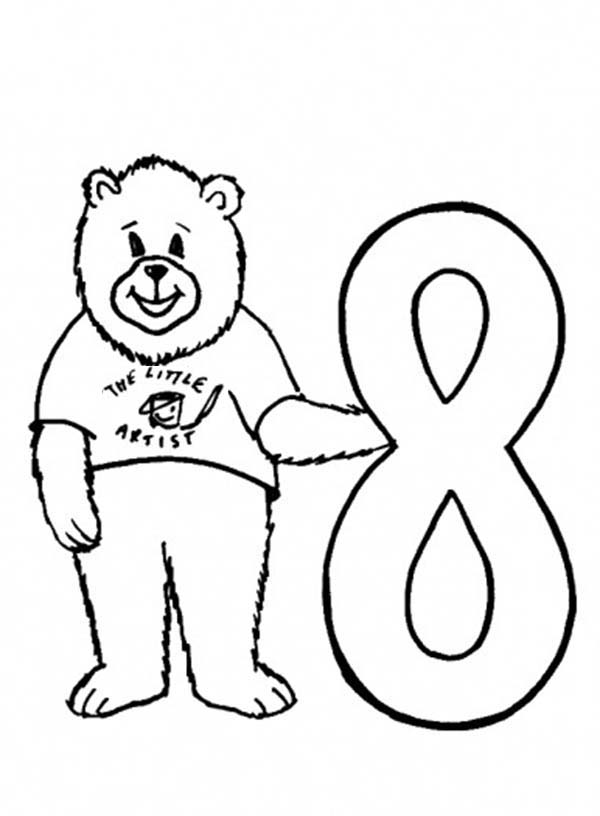 Number 8, : Preschool Kids Learn Number 8 Coloring Page