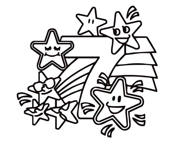 Number 7, : Preschool Kids Learn Stars to Number 7 Coloring Page