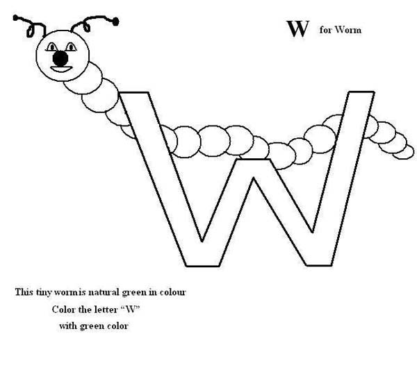 Letter W, : Preschool Kids Letter W for Worm Coloring Page