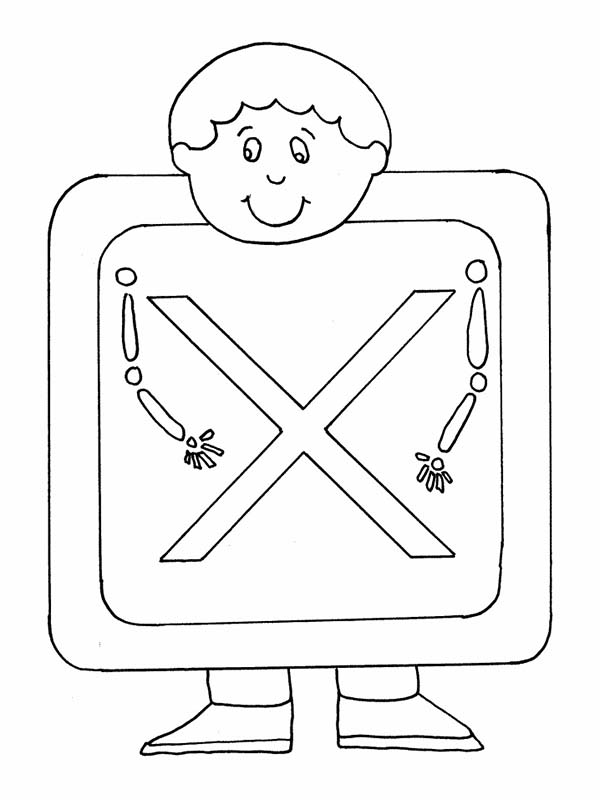 Letter X, : Preschool Kids and Letter X Coloring Page