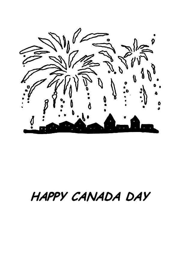 Canada Day, : Pretty Fireworks on Canada Day Coloring Pages