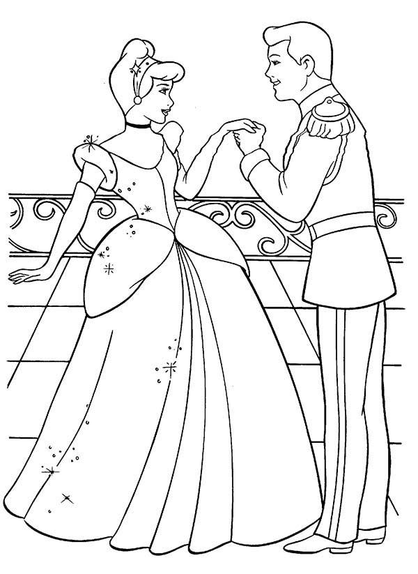 Princesses Birthday, : Prince Kiss Cinderella Hand in Princesses Birthday Coloring Pages