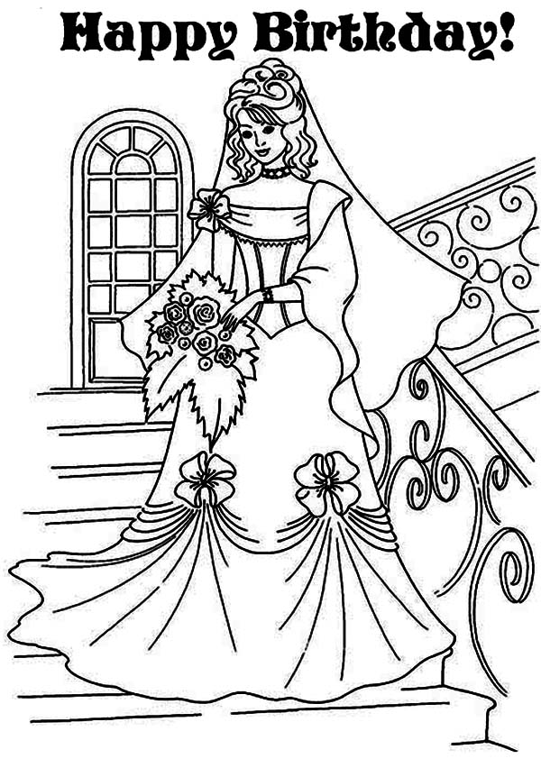 Princesses Birthday, : Princess Lovely Dress in Princesses Birthday Coloring Pages