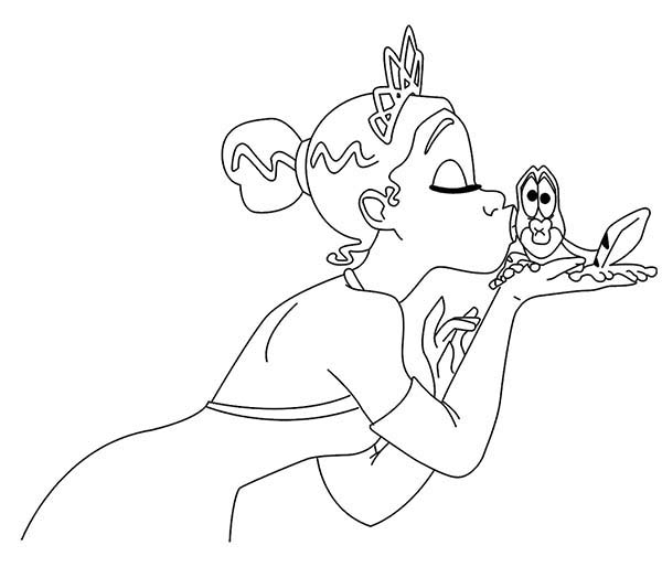 Princess and the Frog, : Princess Tiana Kiss the Frog in Princess and the Frog Coloring Pages