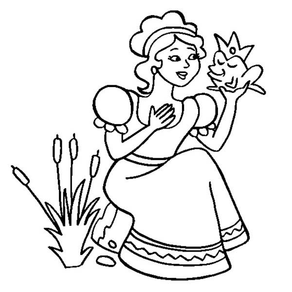 Princess and the Frog, : Princess Tiana Sitting with Frog in Princess and the Frog Coloring Pages