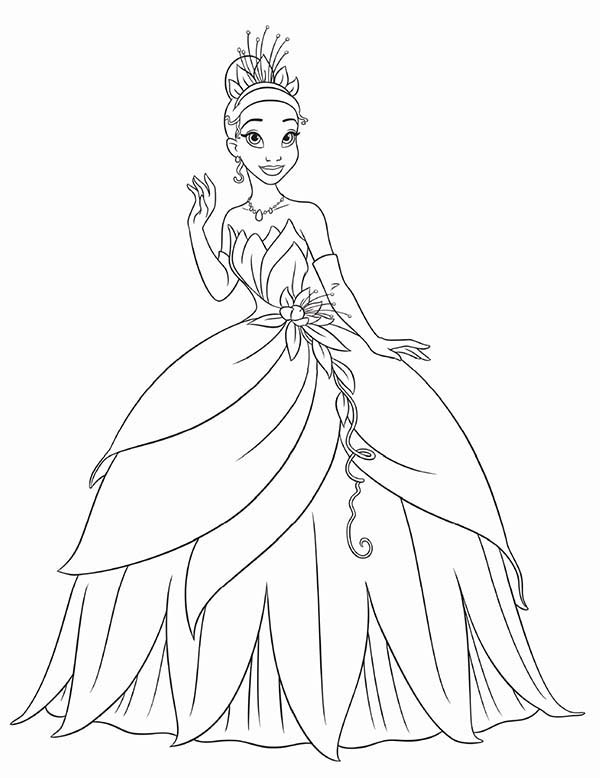 Princess and the Frog, : Princess Tiana Waving Hand in Princess and the Frog Coloring Pages
