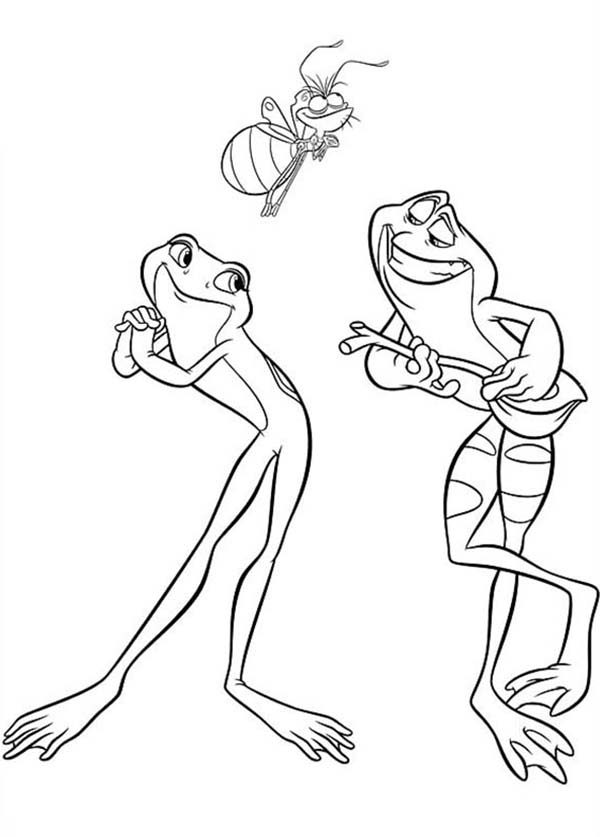 Princess and the Frog, : Princess and the Frog Animal Characters Coloring Pages