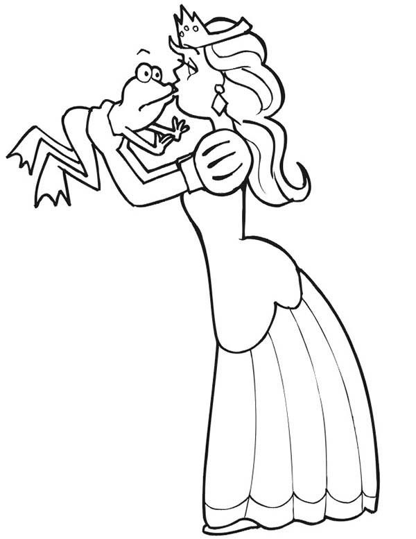 Princess and the Frog, : Princess and the Frog is Kissing Coloring Pages