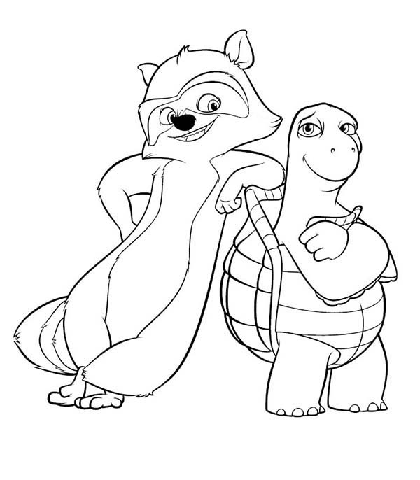 Over the Hedge, : RJ and Verne Taking Picture Together in Over the Hedge Coloring Pages