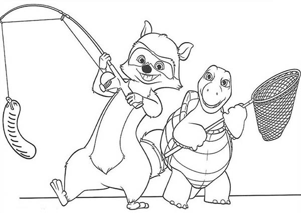 Over the Hedge, : RJ and Verne is Going to Fishing in Over the Hedge Coloring Pages